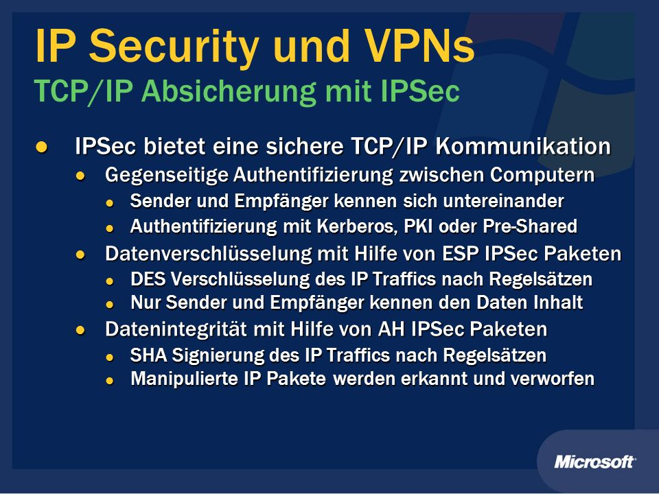 IP Security und VPNs TCP/IP Absicherung mit IPSec