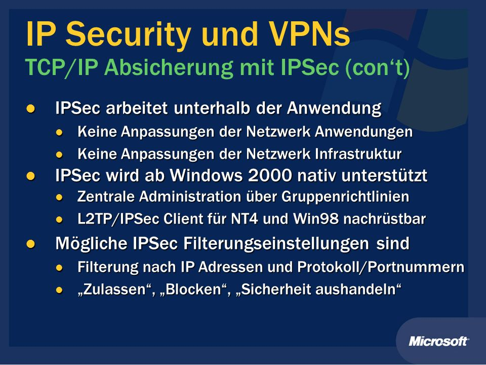 IP Security und VPNs TCP/IP Absicherung mit IPSec (con't)
