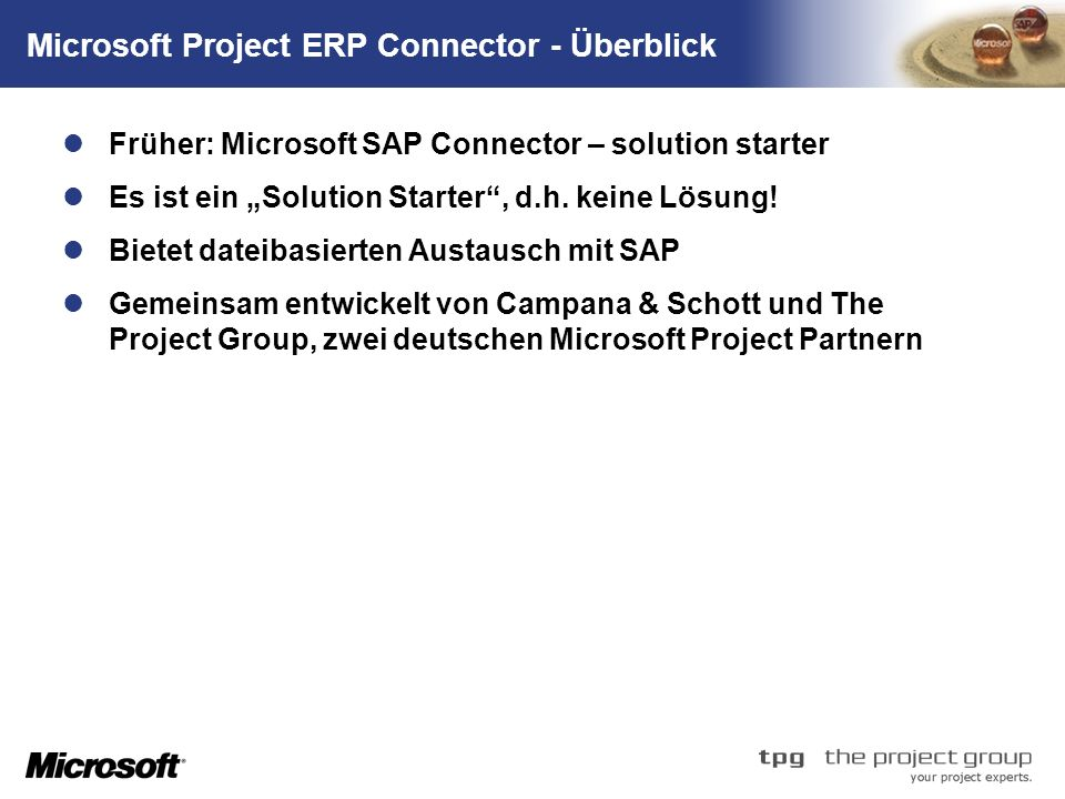 Microsoft Project ERP Connector - Überblick