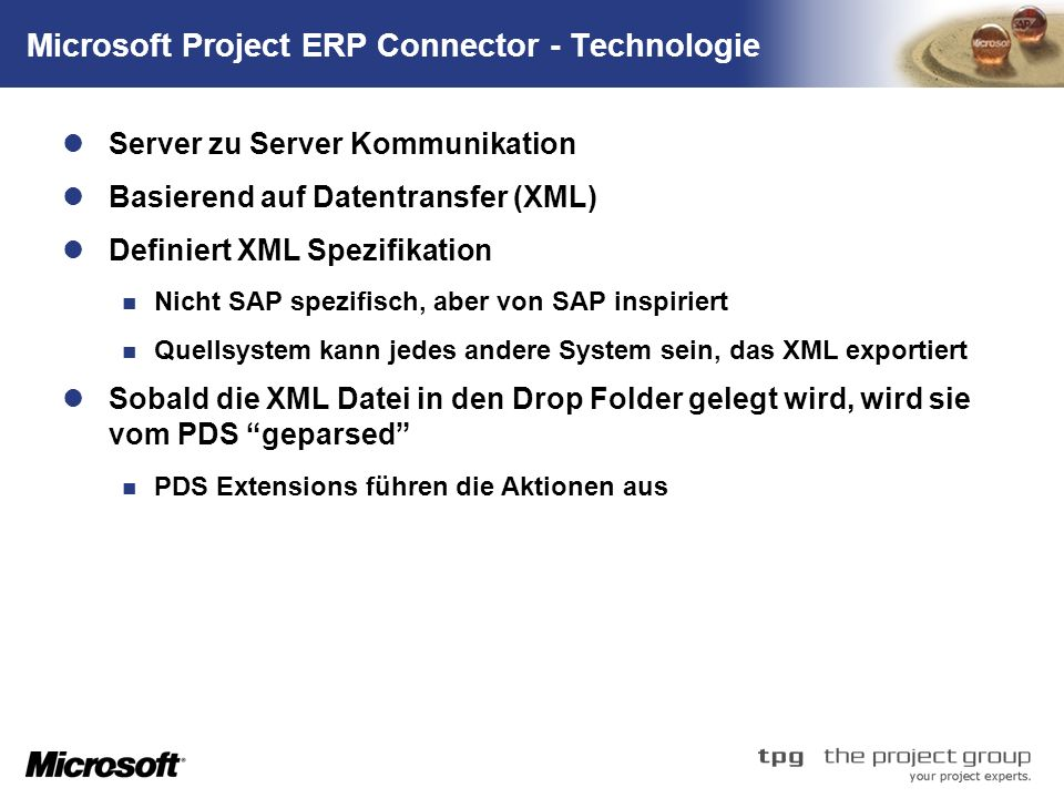 Microsoft Project ERP Connector - Technologie