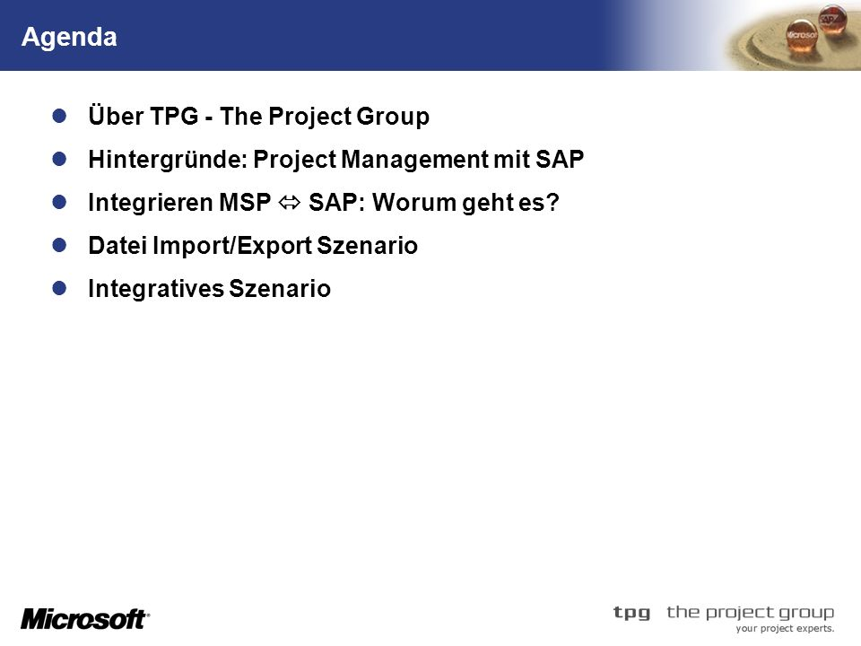 Agenda Über TPG - The Project Group