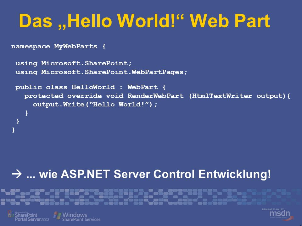 "Das ""Hello World! Web Part"