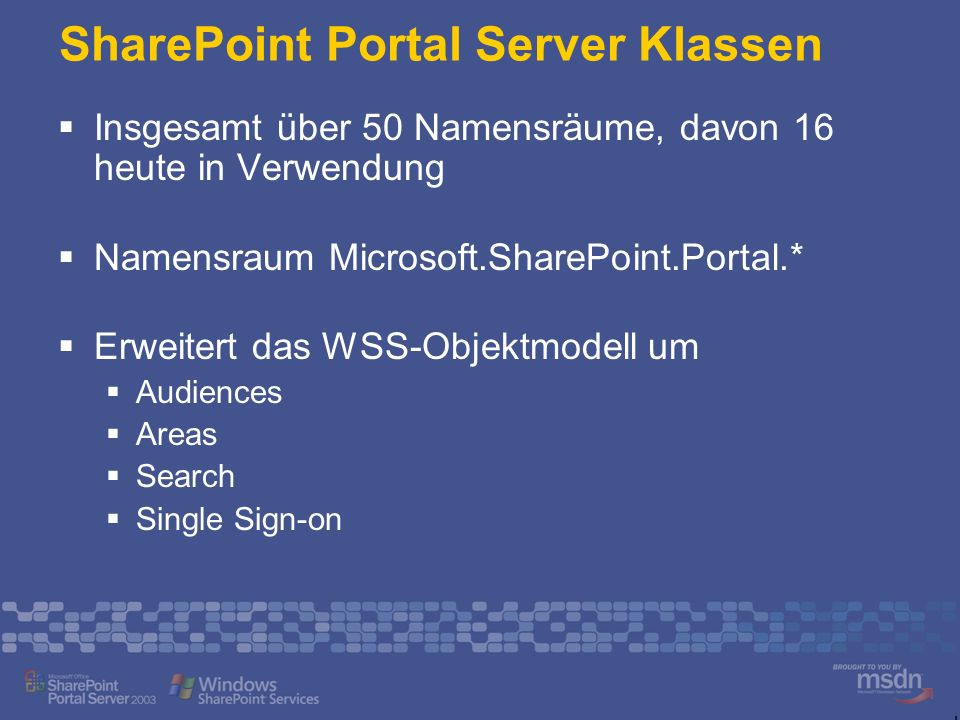 SharePoint Portal Server Klassen