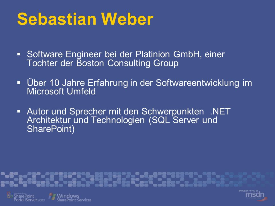 Sebastian Weber Software Engineer bei der Platinion GmbH, einer Tochter der Boston Consulting Group.