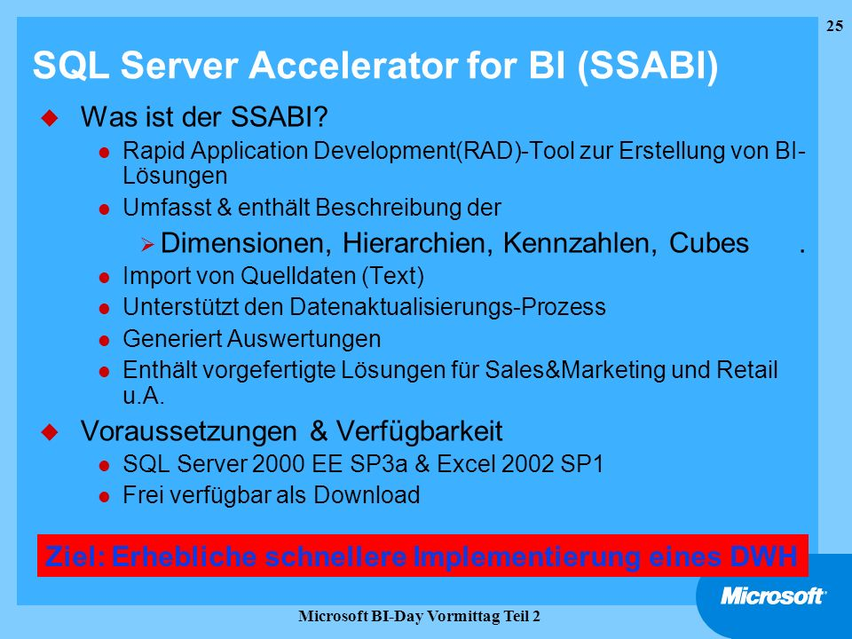 SQL Server Accelerator for BI (SSABI)