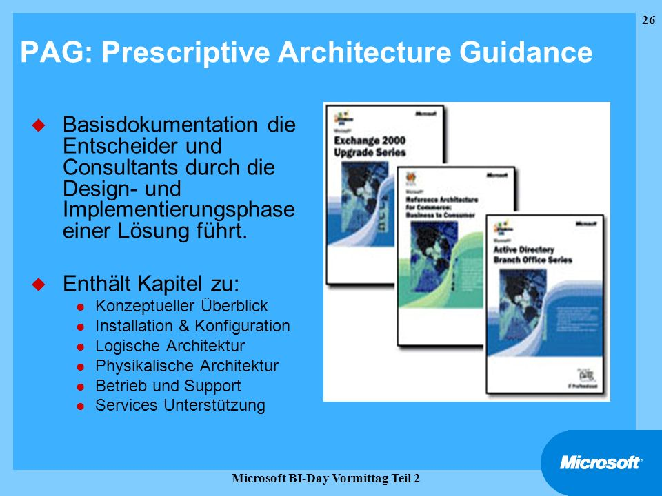 PAG: Prescriptive Architecture Guidance