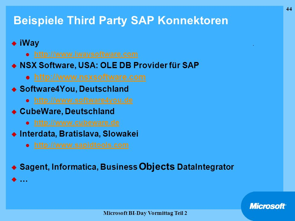 Beispiele Third Party SAP Konnektoren