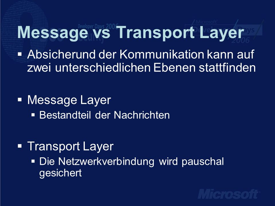Message vs Transport Layer