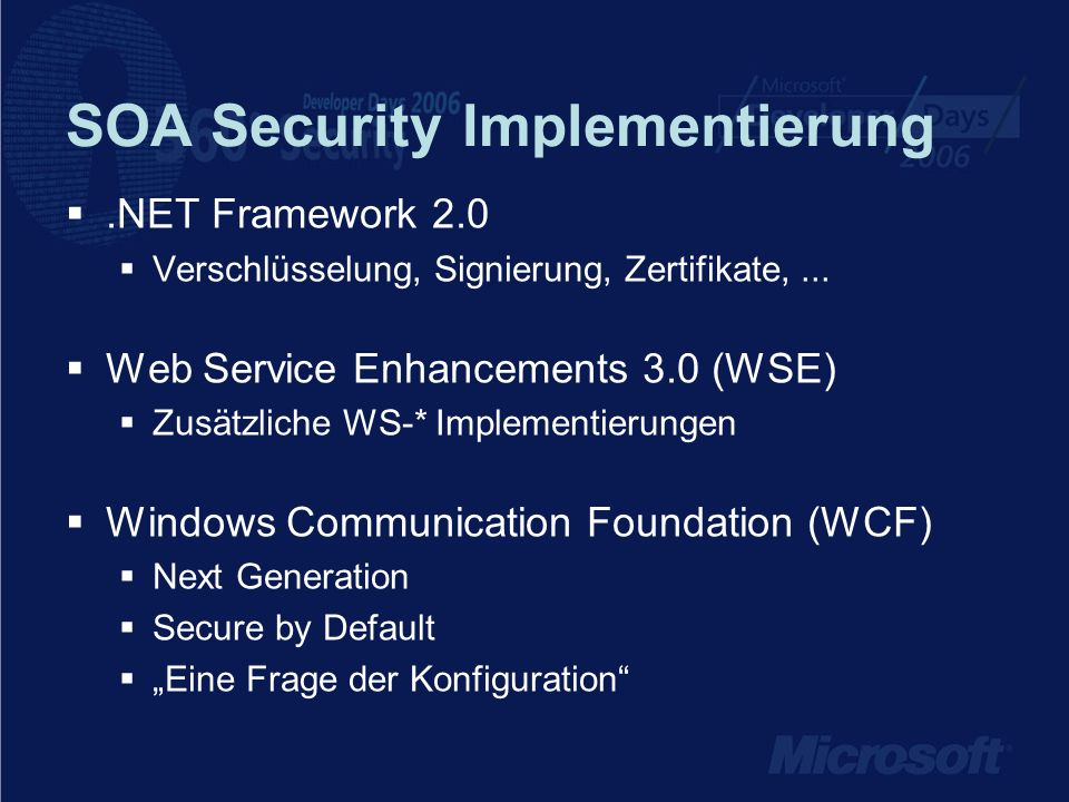 SOA Security Implementierung