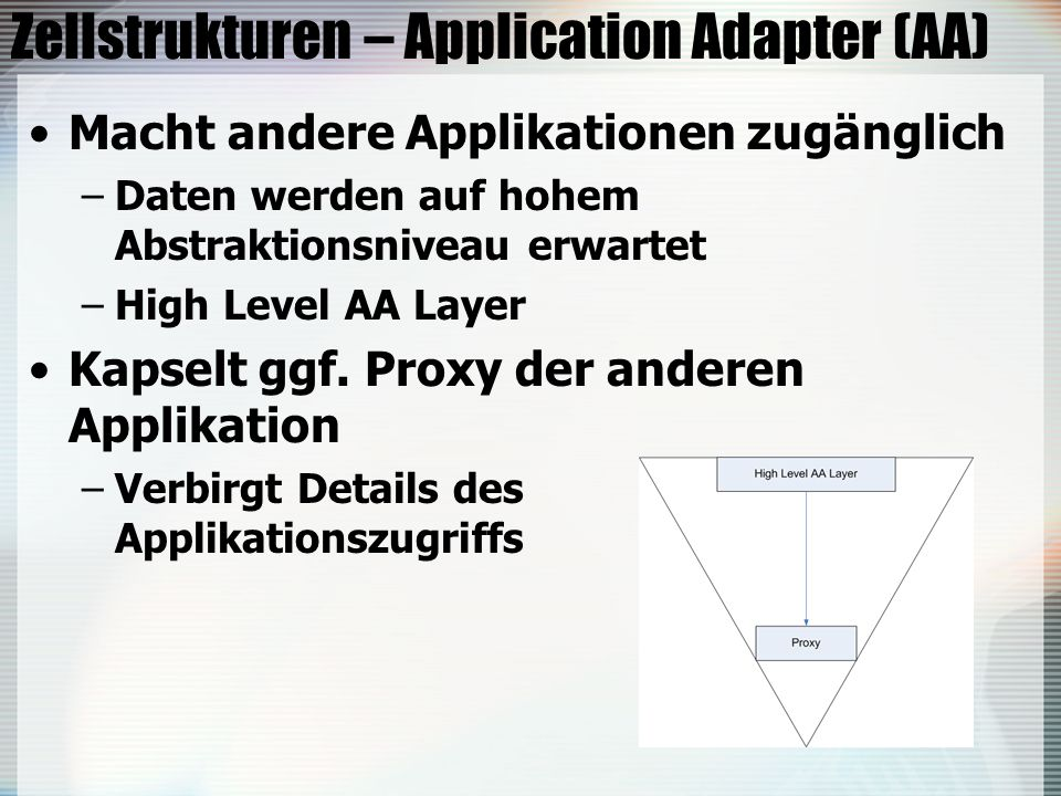 Zellstrukturen – Application Adapter (AA)