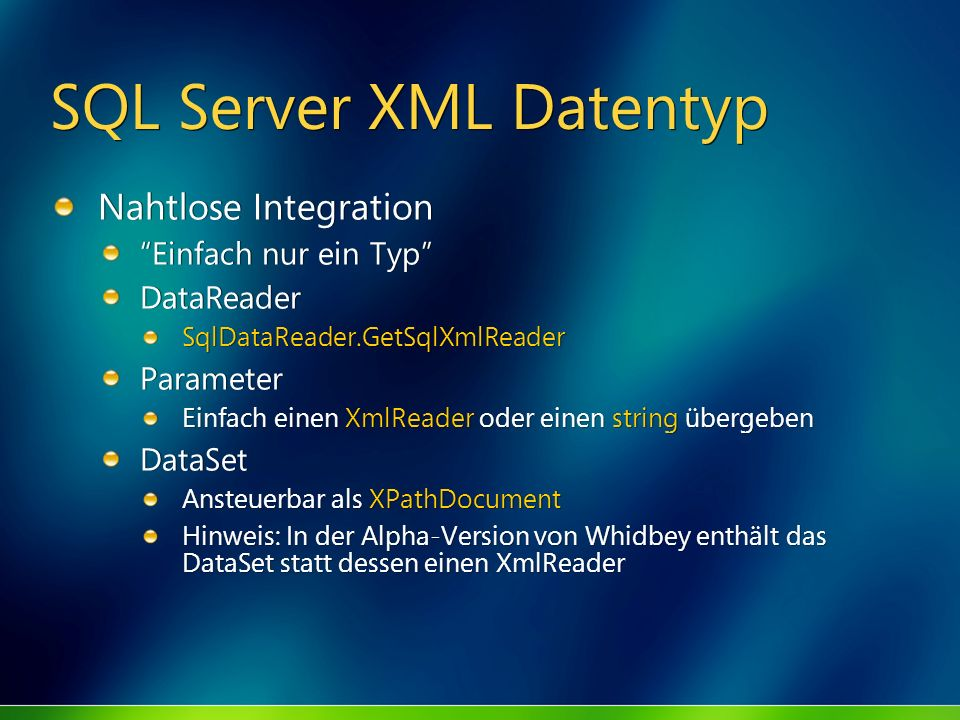 SQL Server XML Datentyp