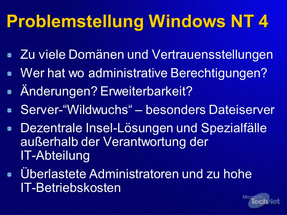 Problemstellung Windows NT 4