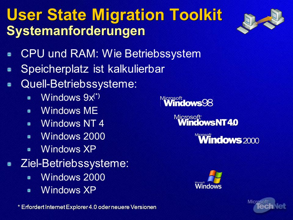 User State Migration Toolkit Systemanforderungen