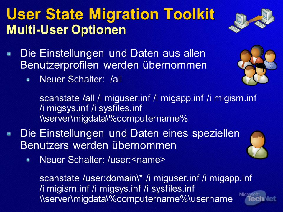 User State Migration Toolkit Multi-User Optionen