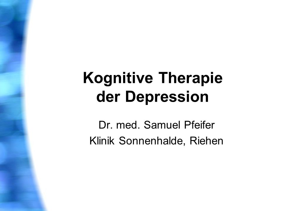 Kognitive Therapie der Depression