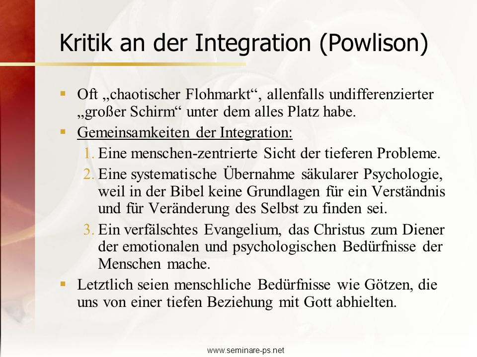 Kritik an der Integration (Powlison)