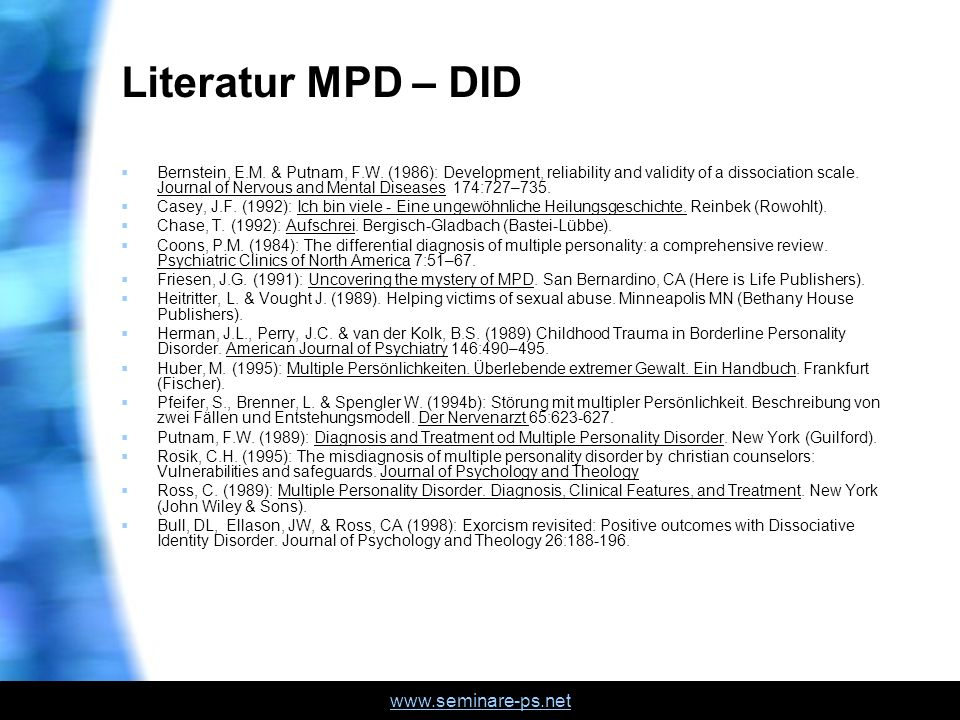 Literatur MPD – DID