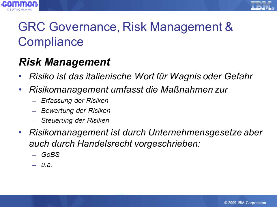 GRC Governance, Risk Management & Compliance