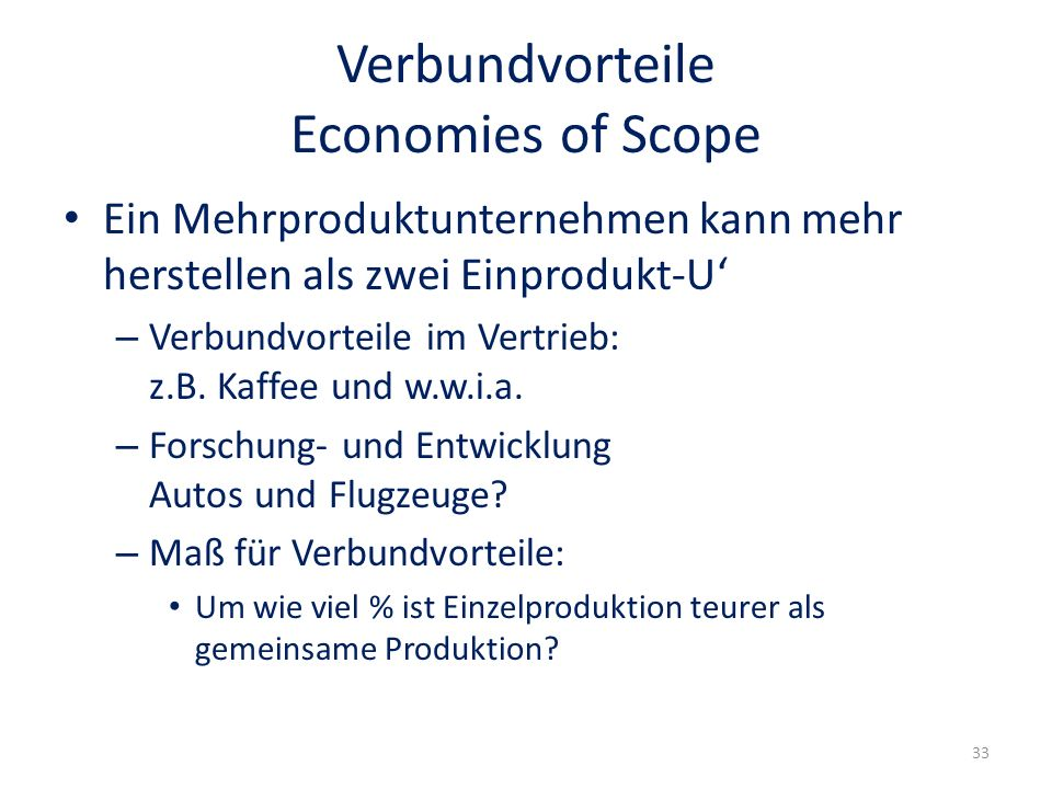 Verbundvorteile Economies of Scope