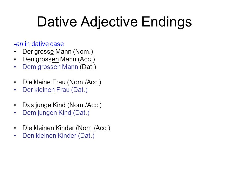 Dative Adjective Endings