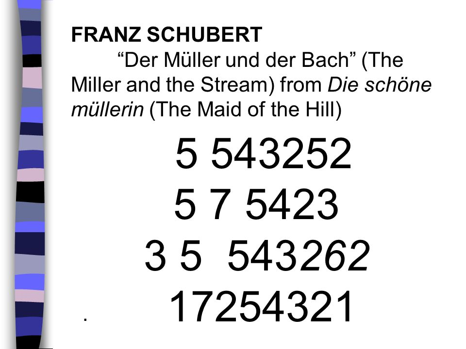 FRANZ SCHUBERT Der Müller und der Bach (The Miller and the Stream) from Die schöne müllerin (The Maid of the Hill)