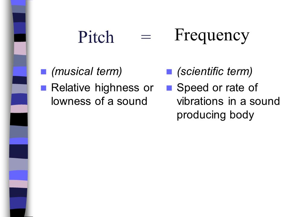 Pitch = Frequency (musical term)