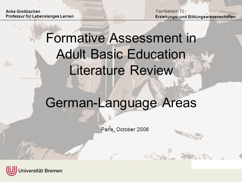 Formative Assessment in Adult Basic Education Literature Review German-Language Areas