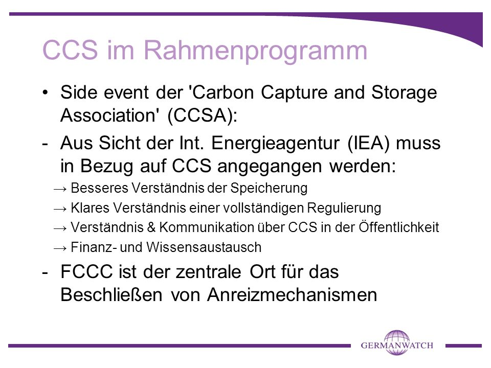 CCS im Rahmenprogramm Side event der Carbon Capture and Storage Association (CCSA):