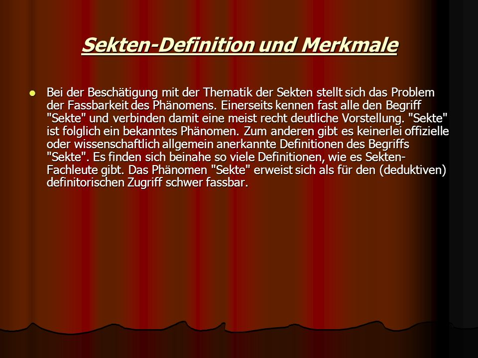 Sekten-Definition und Merkmale