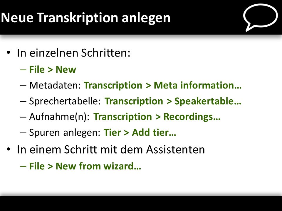 Neue Transkription anlegen