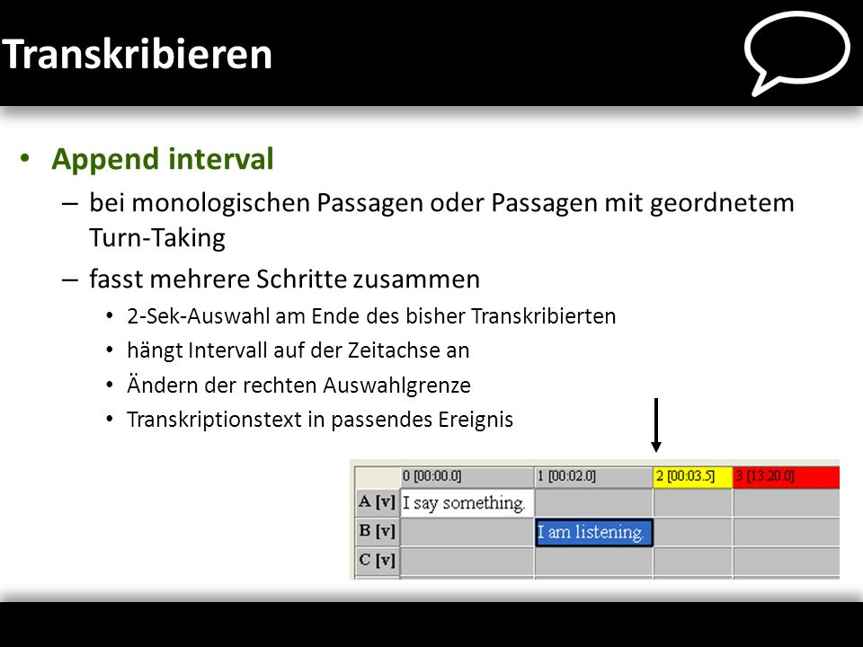 Transkribieren Append interval