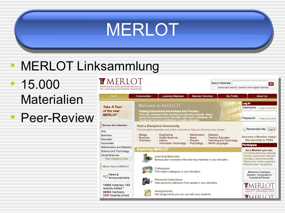 MERLOT MERLOT Linksammlung Materialien Peer-Review