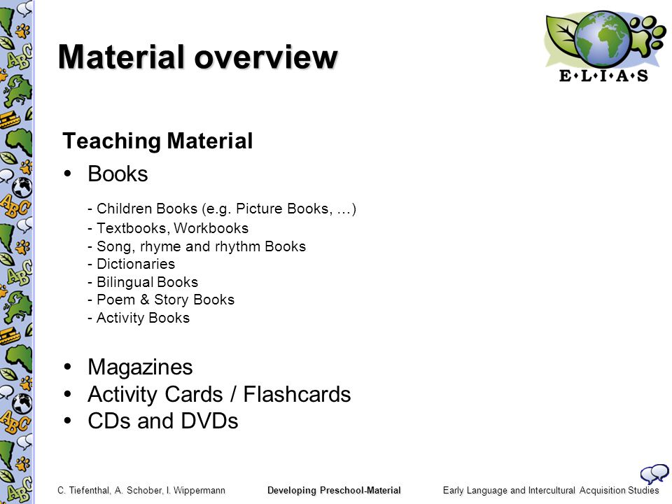 Material overview Teaching Material Books