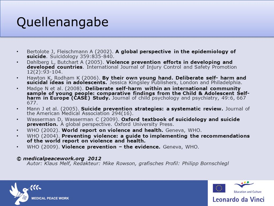 Quellenangabe Bertolote J, Fleischmann A (2002). A global perspective in the epidemiology of suicide. Suicidology 359: