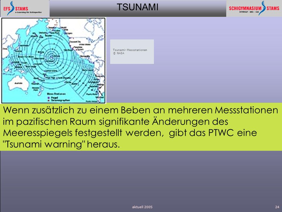 Tsunami- Messstationen © NASA.