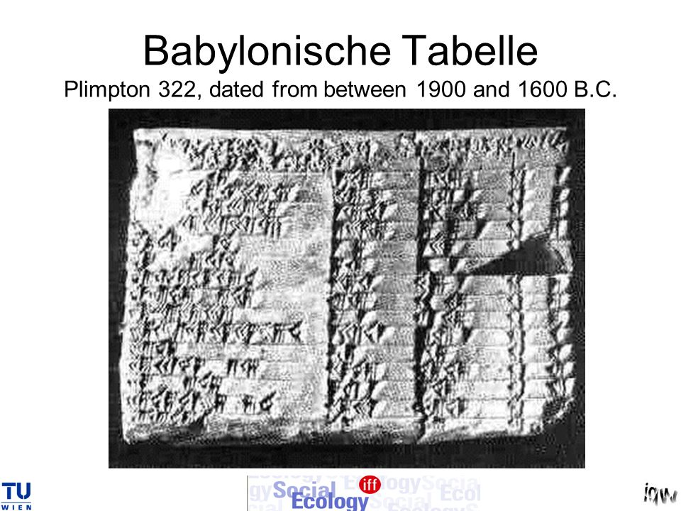 Babylonische Tabelle Plimpton 322, dated from between 1900 and 1600 B