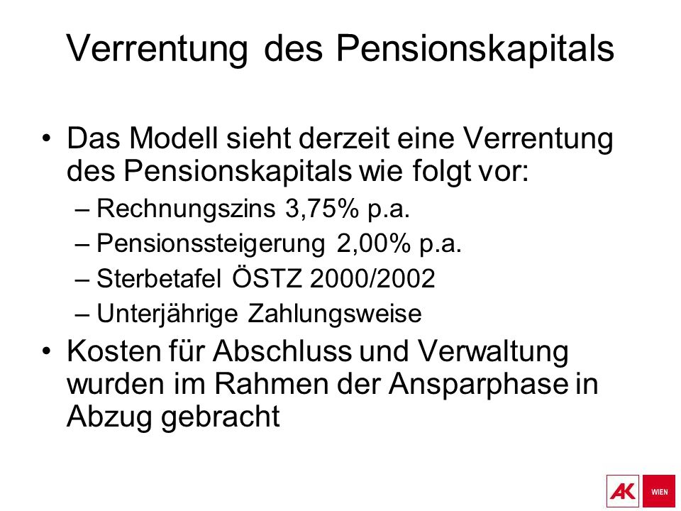 Verrentung des Pensionskapitals