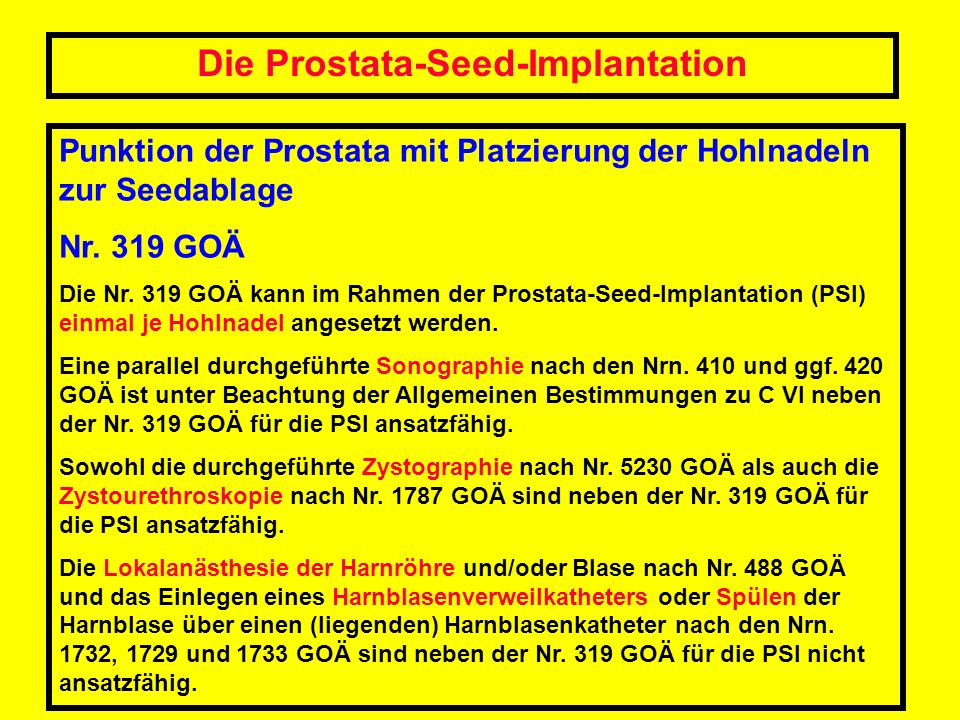 Die Prostata-Seed-Implantation