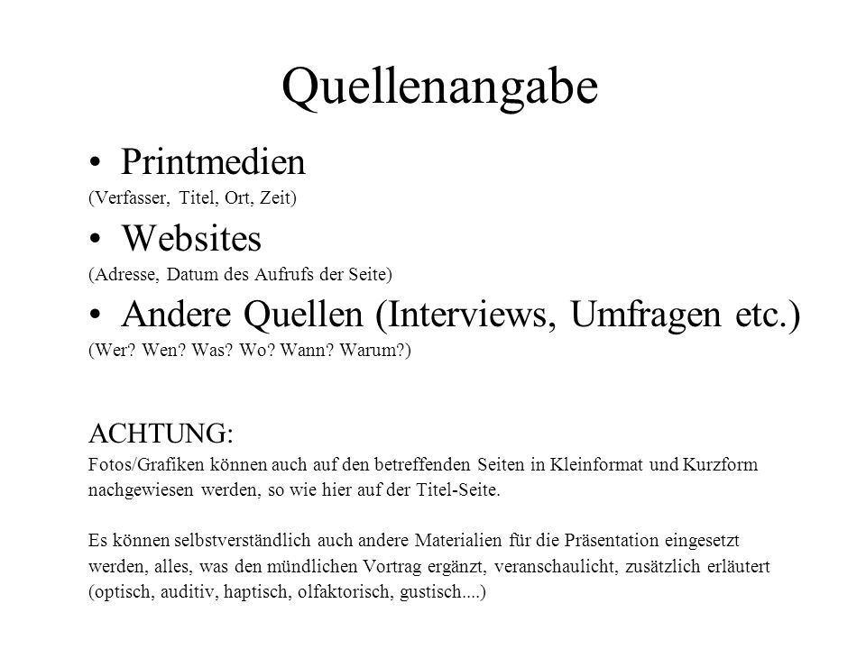 Quellenangabe Printmedien Websites