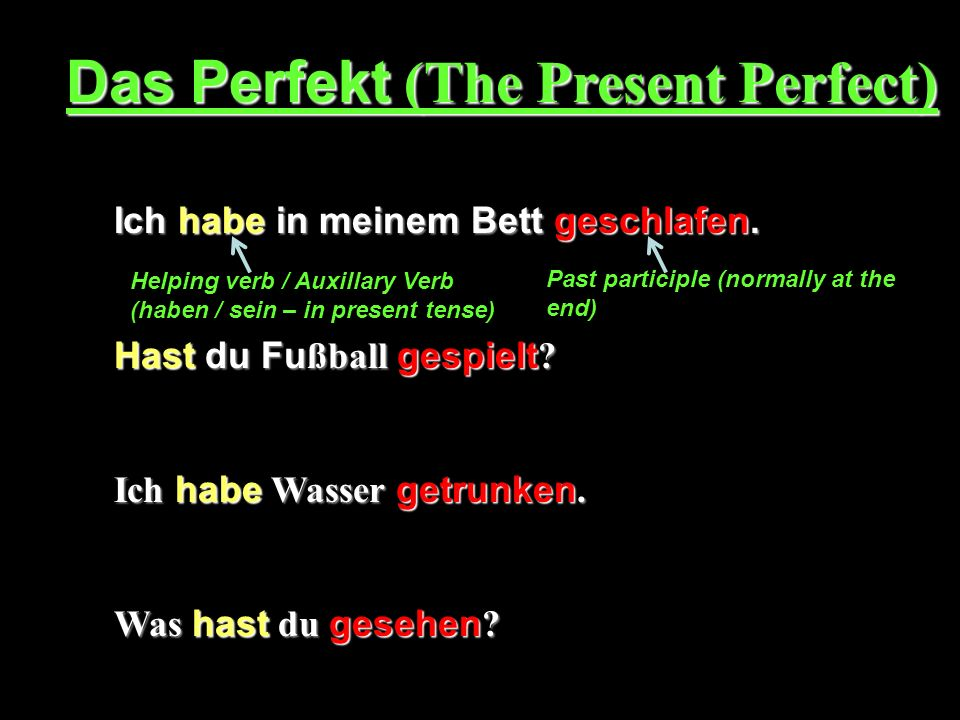 Das Perfekt (The Present Perfect)