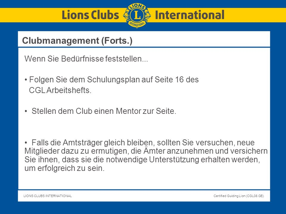 Clubmanagement (Forts.)