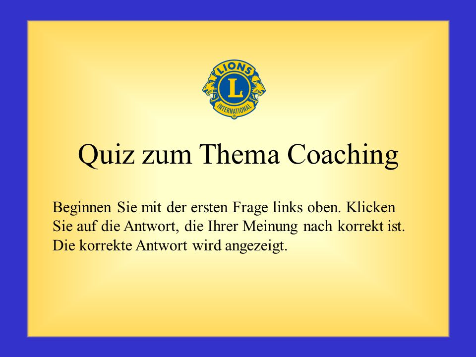 Quiz zum Thema Coaching