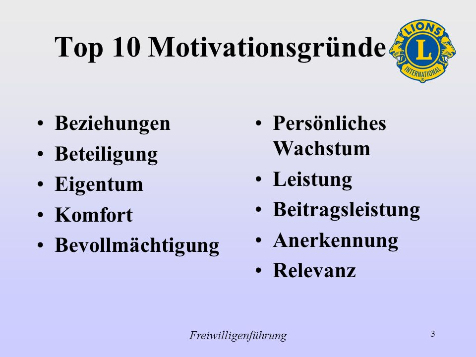 Top 10 Motivationsgründe