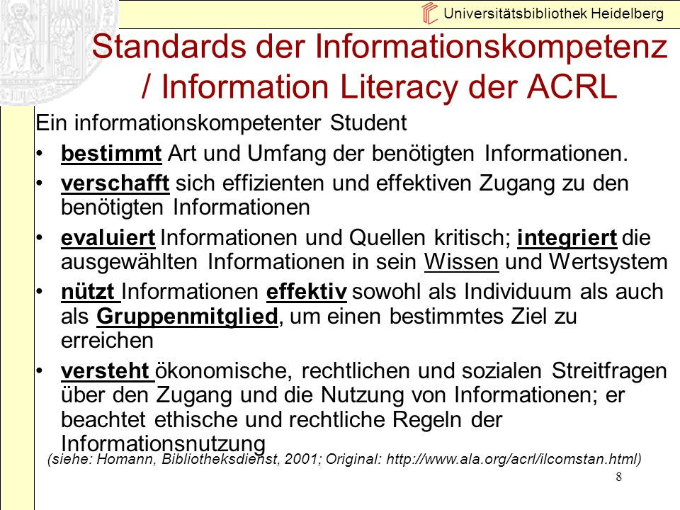 Standards der Informationskompetenz / Information Literacy der ACRL