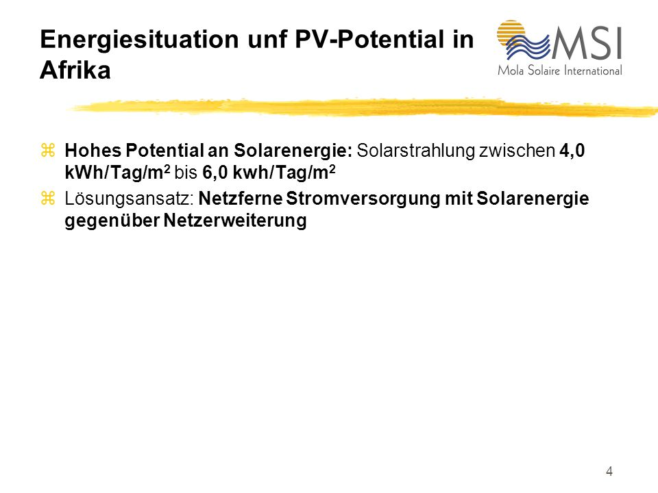 Energiesituation unf PV-Potential in Afrika