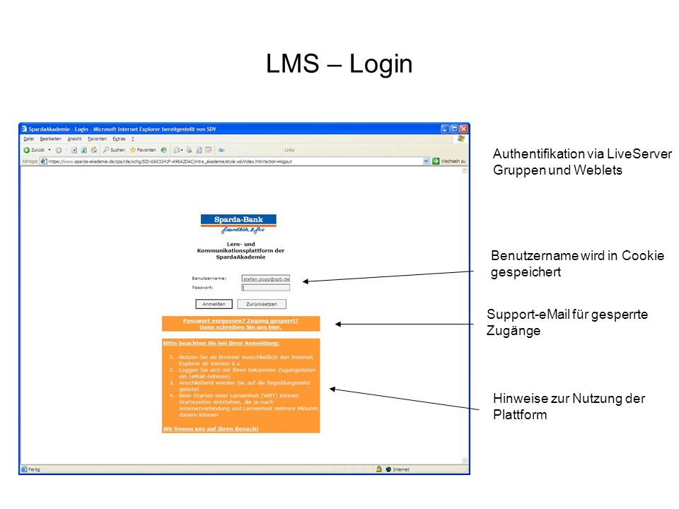 LMS – Login Authentifikation via LiveServer Gruppen und Weblets