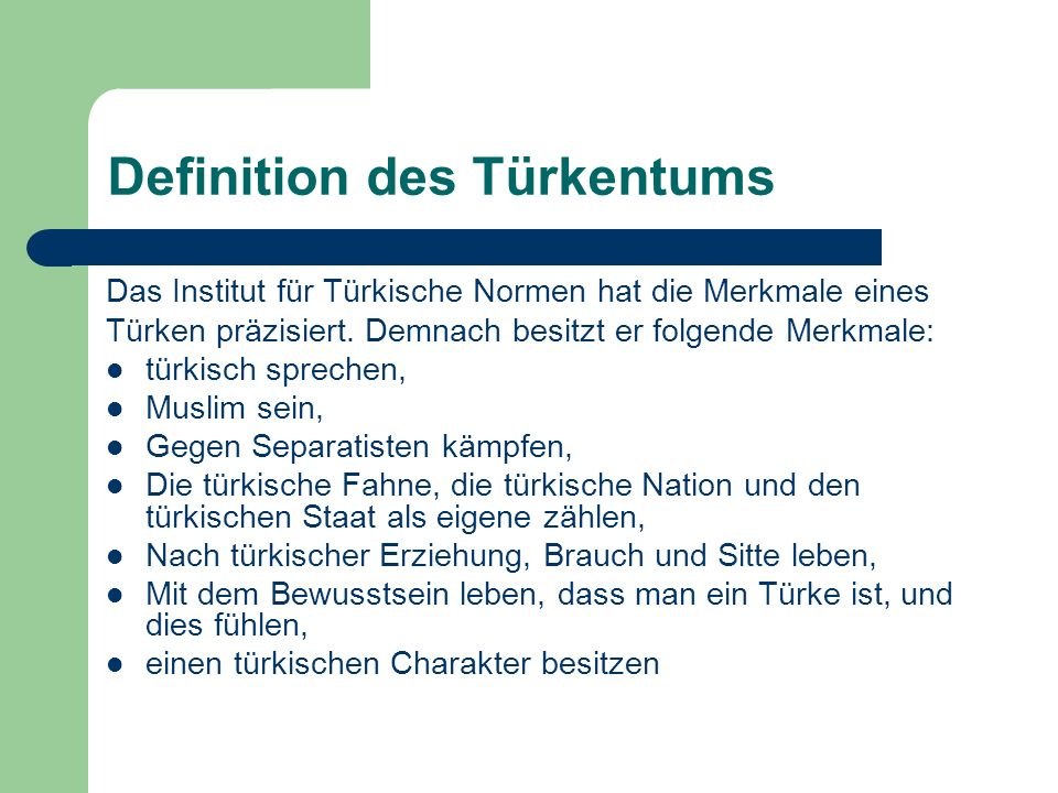 Definition des Türkentums