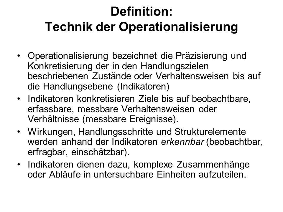 Definition: Technik der Operationalisierung