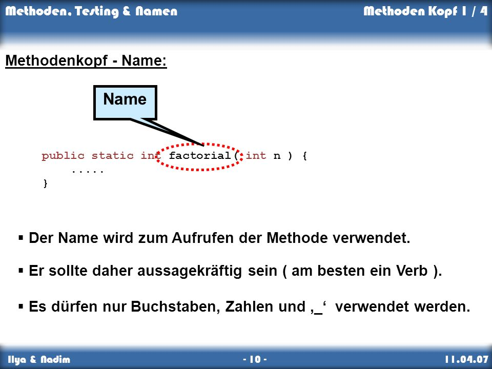 Name Methodenkopf - Name:
