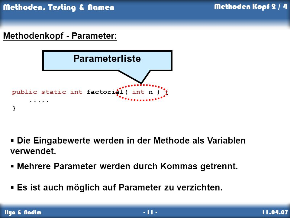 Parameterliste Methodenkopf - Parameter: